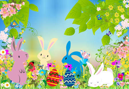 composition with bunnies, easter eggs and flowers for easter