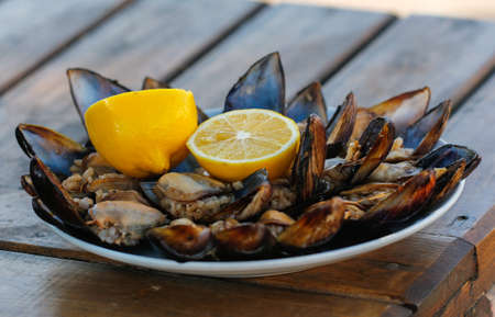 Stuffed Mussels, Midye Dolma mediterranean cuisine. Stock Photo