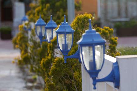garden lamp: Blue streetlights. Blue garden lantern. Classic old garden lamp.