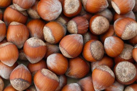 disorderly: Nuts, hazelnuts as background. Background of disorderly numerous ripe brown hazelnuts. Stock Photo