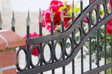puertas de hierro: Valla de hierro. Detalle Forge. Parte de una valla de hierro forjado. Hierro detalles Gate.