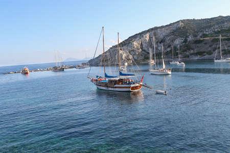 seascapes: Knidos near the coast of Marmaris, Turkey. Knidos, Datca Marmaris, Turkey Cnidus Datcha. Mediterranean coast. Peninsula near the old ruins of Knidos in Turkey. Sea coast.