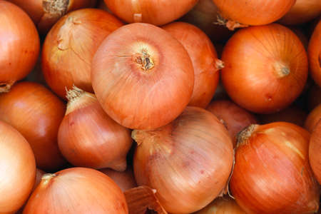 Fresh onions. Onions background. Ripe onions. Onions in market. Stock Photo