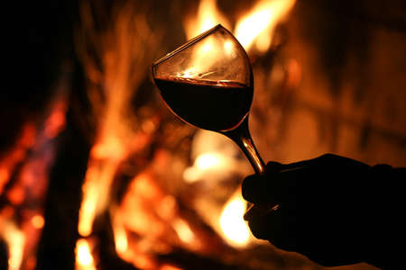 blind date: Drink wine in front of the fireplace.