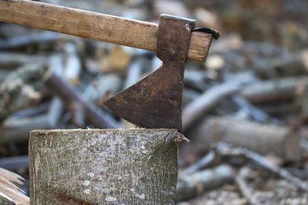 Vecchio strumento pesante ascia impalato nel registro e frammenti di Alderwood dietro di esso, strumento accetta ceppi di legno scissione e tronchi tagliati che si trovano a terra.