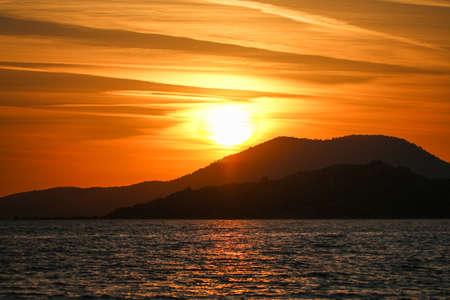 soil erosion: Sunset at lake Bafa, Mugla - Izmir.