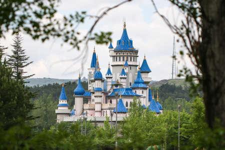 Fairy tale castle in Sazova Science Art and Cultural Park. Eskisehir City, Turkey.