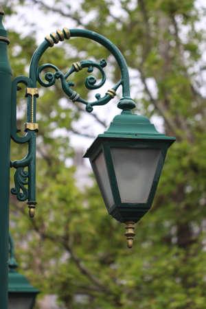 sky brunch: Old style green street lantern in city park.