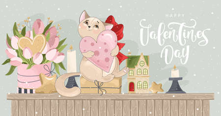Valentine's day card. Romantic cat with festive elements. Hand lettering. Vector illustration. Template for Invitation, greetings, congratulations, posters