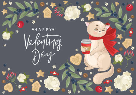 Valentine's day card. Romantic cat with festive elements. Hand lettering. Vector illustration. Template for Invitation, greetings, congratulations, posters. 向量圖像