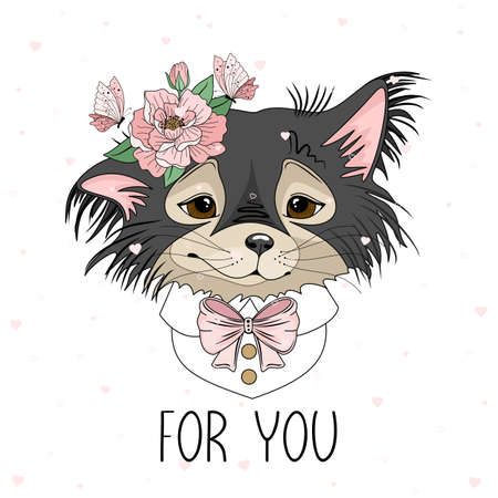 Holiday card with Valentines Day. Cute Dog with romantic elements. Vector illustration.