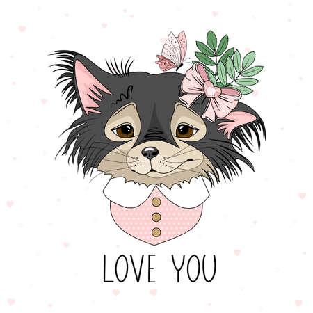 Cute festive dog with romantic inscription. Vector illustration