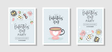 Set of Valentines day Greeting cards with flowers, sweets, branches, romantic elements and handwritten text. Vector illustration. Template for invitation, greeting, greetings, posters.