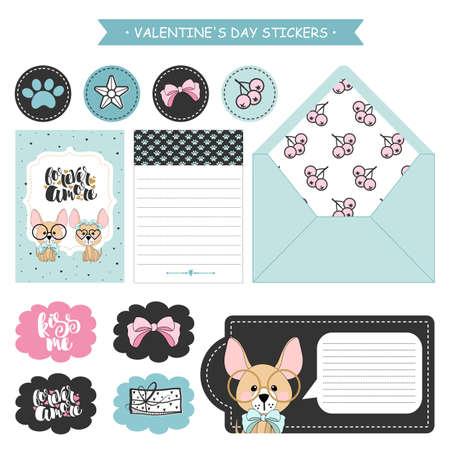 Set di adesivi di cani divertenti con cuori. San Valentino. Illustrazione vettoriale. Vettoriali
