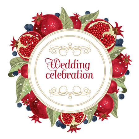 Wedding invitations with pomegranate and leaves. Composition for a wedding or greeting card. Design element for wedding, birthday, natural and eco cosmetics. Can be used for a poster, invitation, or note. Vector illustration. Printing on fabric, paper, postcards, invitations.