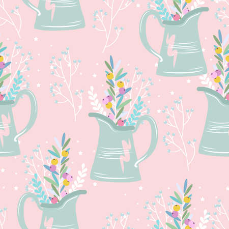 Seamless pattern with hand drawn flowers. March 8. Vector illustration. Printing on fabric, paper, cards, invitations. Ilustração