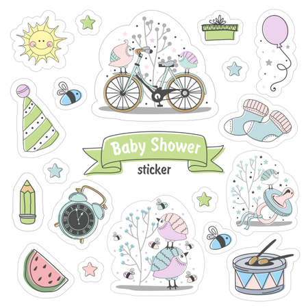 Set of Baby shower stickers. Isolated on a white background drawn by hand. Vettoriali