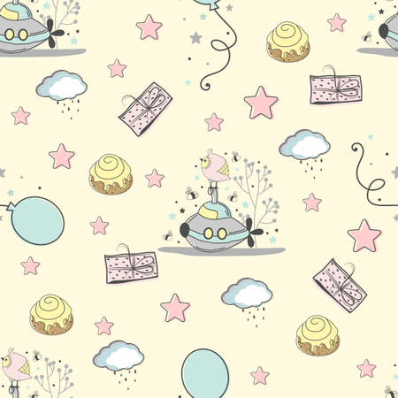 Seamless pattern with children's elements. Perfect for a Baby Shower. Baby cards, packaging and labels. Vector illustration Vettoriali