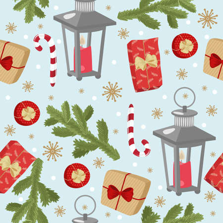 New year and Christmas holiday seamless pattern with different elements. For wrapping paper or fabric. Fashionable vintage style.