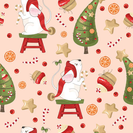 New year and Christmas holiday seamless pattern with mouse for wrapping paper or fabric with different elements. Fashionable vintage style.