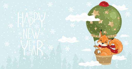 Happy New Year card with a cute Squirrel and festive elements. Vector illustration.