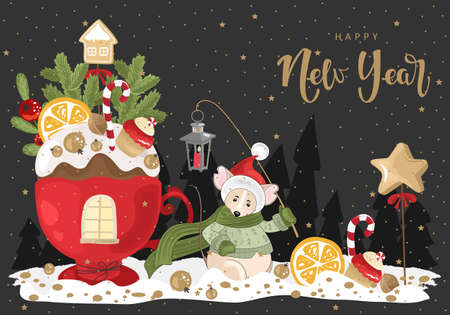 Happy new year with Mouse, festive Cup, branches and sweets. Vector illustration. Winter holiday card with calligraphic and hand-drawn design elements.