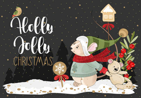 Holly wishes merry Christmas with a Mouse, twigs and sweets. Vector illustration. Winter holiday card with calligraphic and hand-drawn design elements.