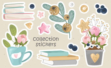 Romantic stickers with flowers, branches and cute elements. Printing on paper, fabric, and tableware. Vector illustration.