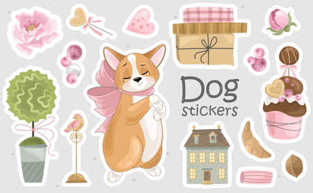 Set of Corgi stickers and icons. Cute dog with romantic items. Vector illustration. Printing on fabric, paper, postcards, invitations.