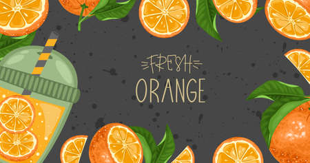Fresh orange, leaves and a delicious drink. Hand calligraphy. Label, banner advertising element. Vector illustration. Printing on fabric, paper, postcards, invitations.