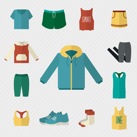 clothes: Sport clothing icons set. Fitness wear. Flat style vector illustration.