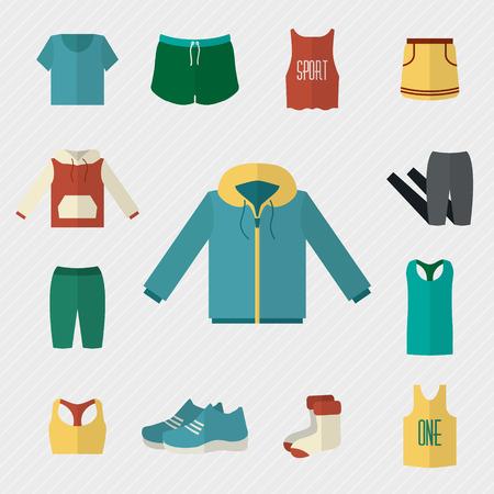 Sportkleding iconen set. Fitness slijtage. Vlakke stijl vector illustratie.