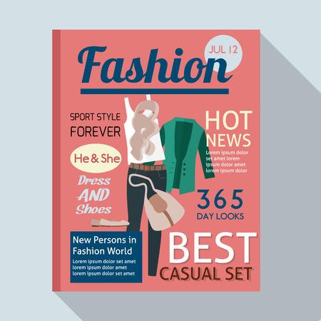 Fashion magazine with casual clothing. Flat style vector illustration.