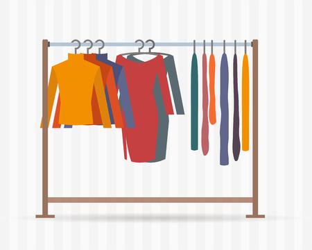 tienda de ropa: Ropa bastidores con vestidos en perchas. Ilustración vectorial de estilo Flat. Vectores