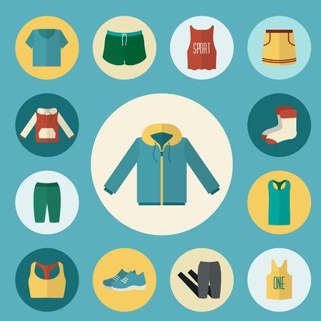 Iconos ropa deportiva establecen. Desgaste de fitness. Ilustración vectorial de estilo Flat.