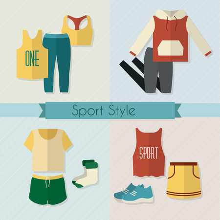 casual dress: Sport clothing icons set. Fitness wear. Flat style vector illustration.