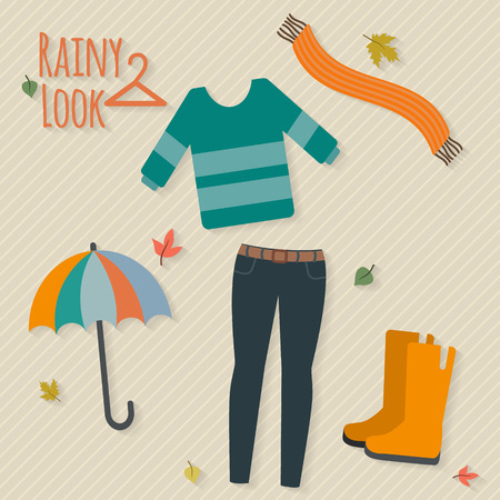 Woman clothing set. Casual rainy autumn day look. Flat style vector illustration. Ilustrace