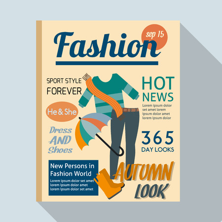 examples: Fashion magazine with casual clothing. Flat style vector illustration.