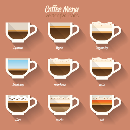kinds: Coffee menu icon, cup of coffee and coffee pot.  Buttons for web and apps. Coffee beverages types and preparation. Vector illustration.