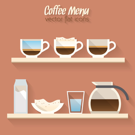 menu buttons: Coffee menu icon, cup of coffee and coffee pot.  Buttons for web and apps. Coffee beverages types and preparation. Vector illustration.