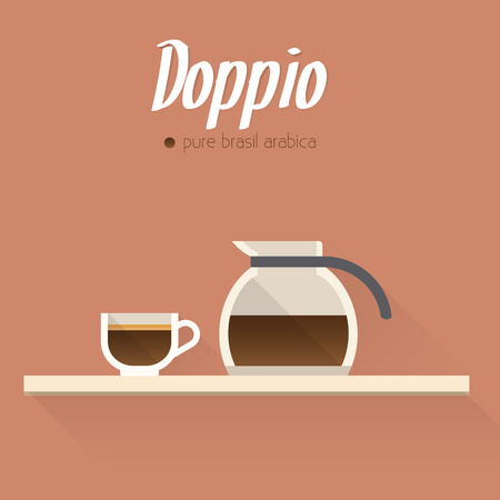 glace: Coffee menu icon, cup of coffee and coffee pot.  Buttons for web and apps. Coffee beverages types and preparation. Vector illustration.