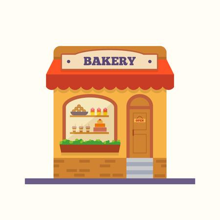 パン屋さん。カフェと市場。 フラット スタイルのベクトル図です。  イラスト・ベクター素材