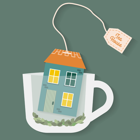 teabag: House in cup of tea. Flat style vector illustration.