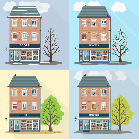 shop floor: Four seasons, spring, summer, autumn, winter. Flat style retro house with books shop on first floor. Vector illustration.