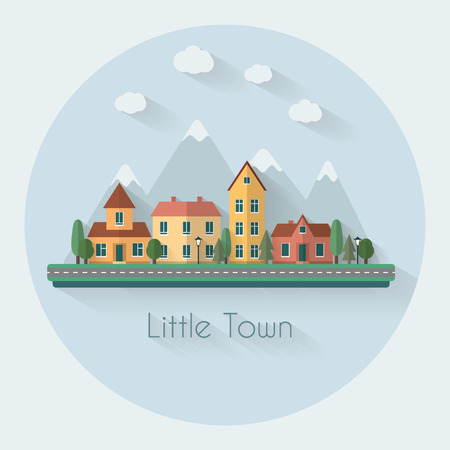 urban city: Little city street with small houses and trees and mountains on background. Day and night view. Flat style vector illustration.