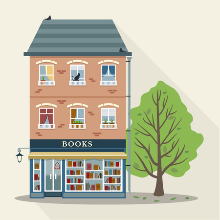 book shop: Flat style retro house with books shop on first floor. Vector illustration.