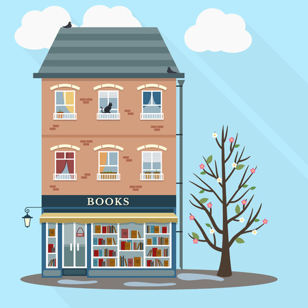 first house: Spring. Flat style retro house with books shop on first floor. Vector illustration.
