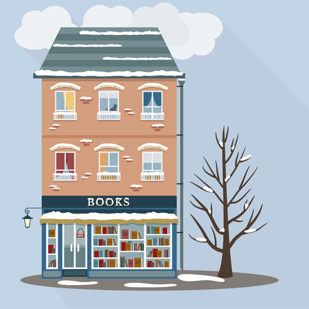 shop floor: Winter. Flat style retro house with books shop on first floor. Vector illustration. Illustration