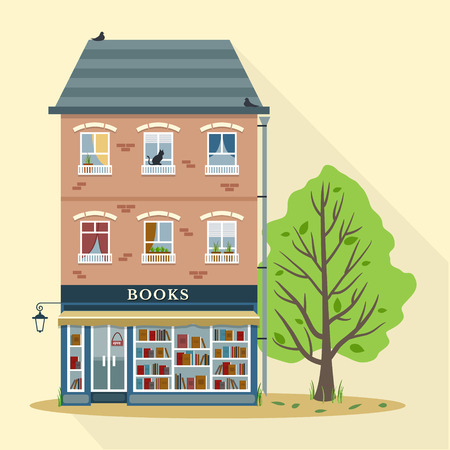 first house: Summer. Flat style retro house with books shop on first floor. Vector illustration.