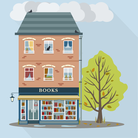 first house: Autumn. Flat style retro house with books shop on first floor. Vector illustration.